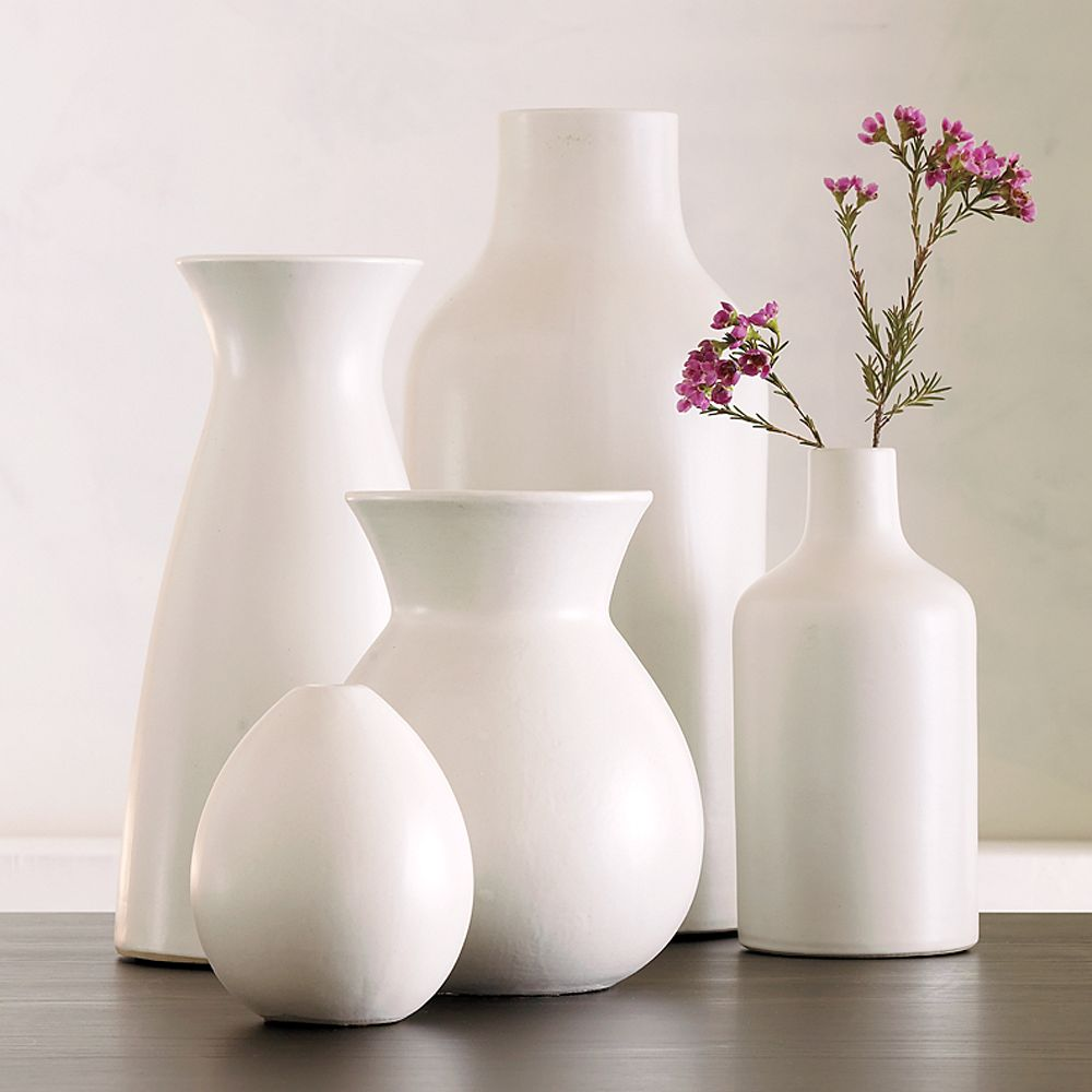 pure white ceramic vases  west elm au - pure white ceramic vases