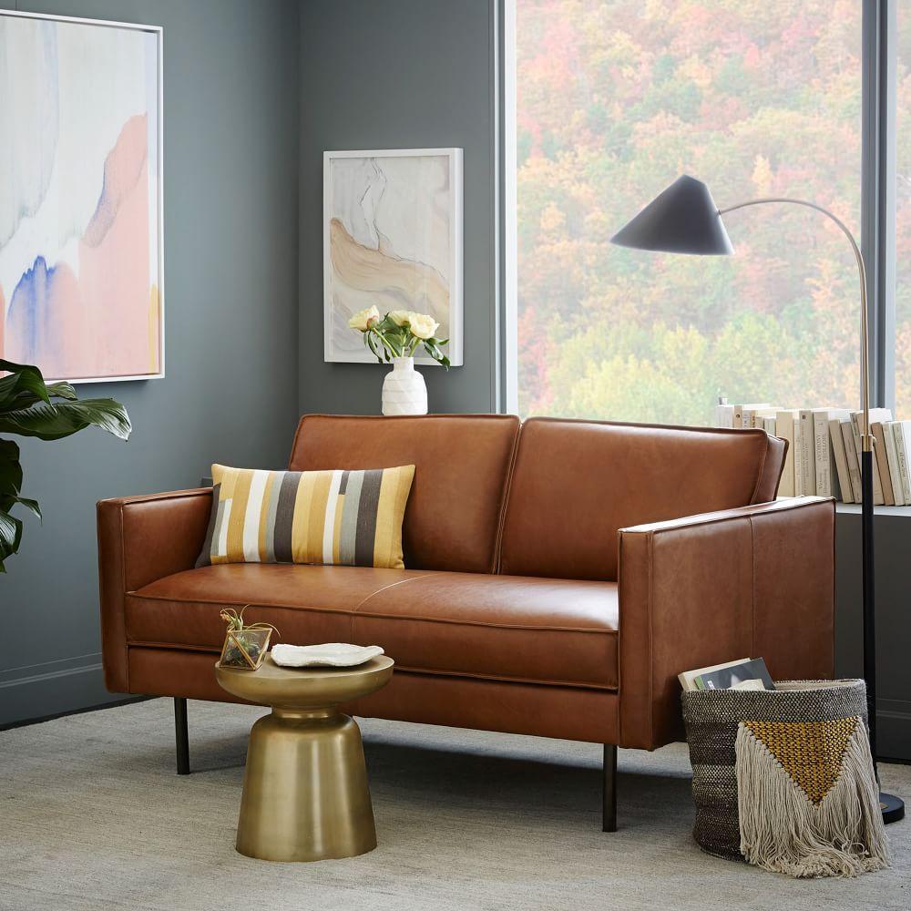 Axel leather loveseat 154 cm saddle west elm australia for Camel sofa color scheme