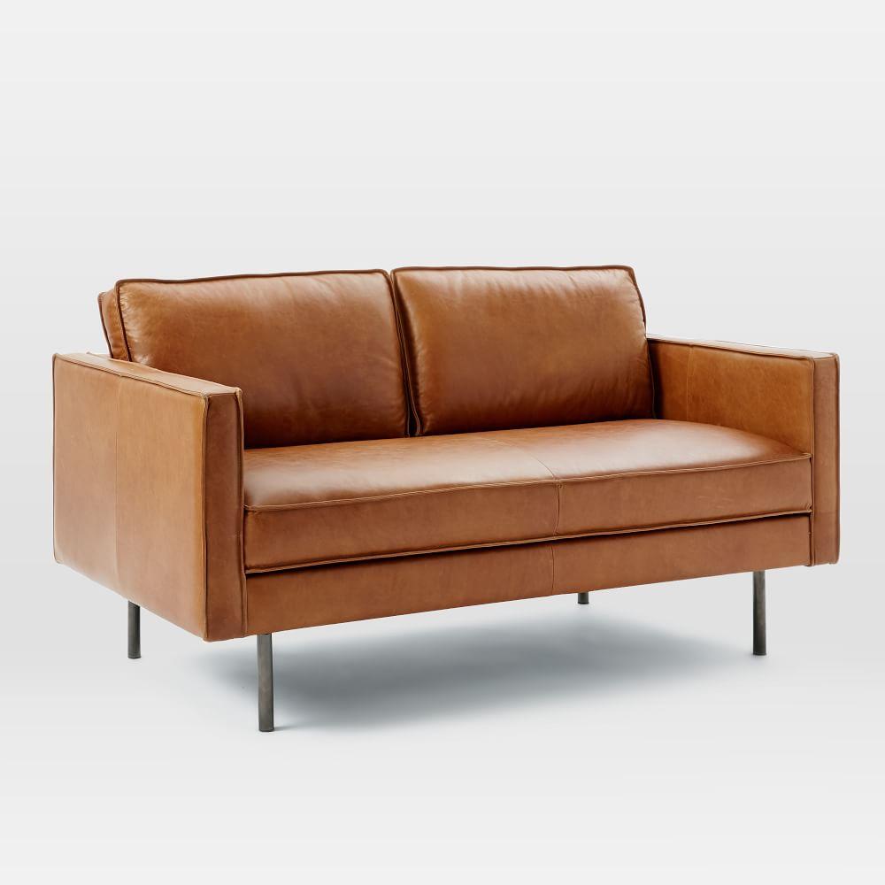 axel leather loveseat 154 cm west elm australia. Black Bedroom Furniture Sets. Home Design Ideas