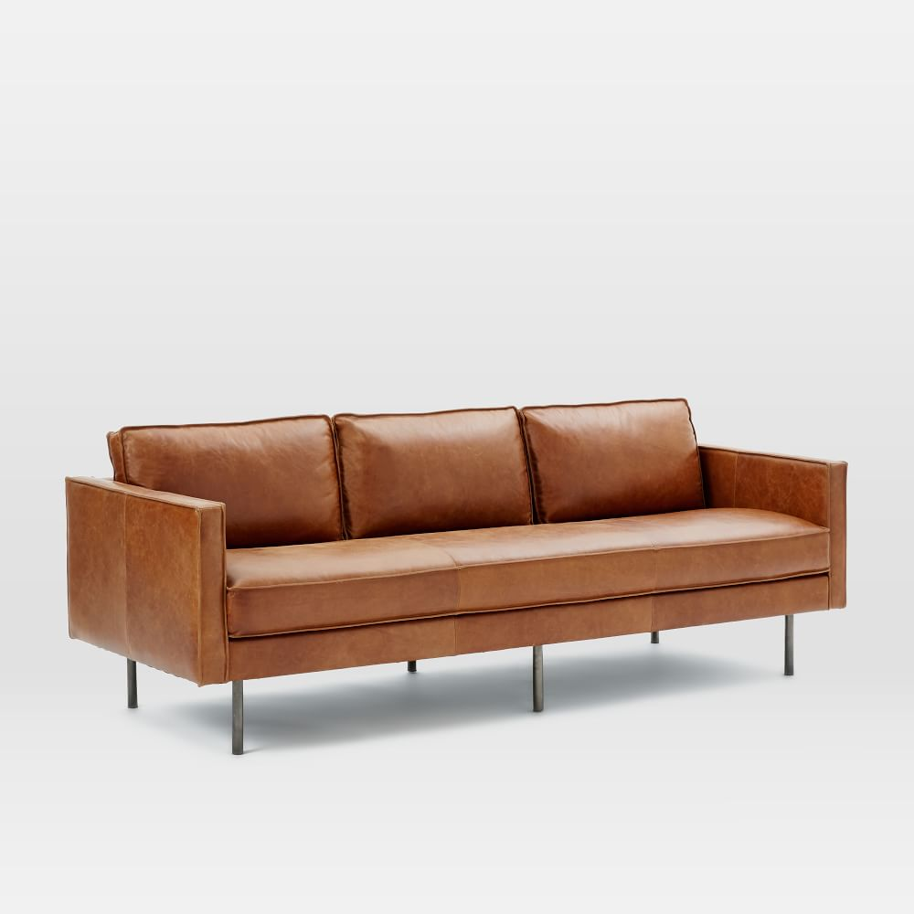 Axel Leather Sofa 226 Cm Saddle West Elm Australia