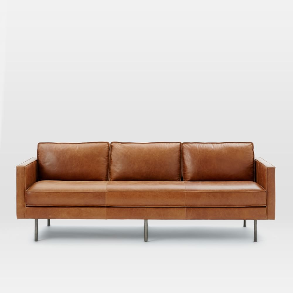 Is West Elm Furniture Good Quality: Axel Leather Sofa (226 Cm) - Saddle