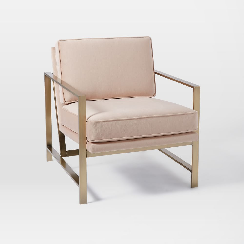 Metal Frame Upholstered Chair Dusty Blush West Elm
