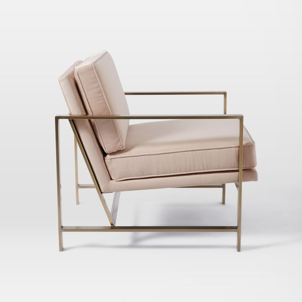 Metal frame upholstered chair dusty blush west elm au for Modern armchair