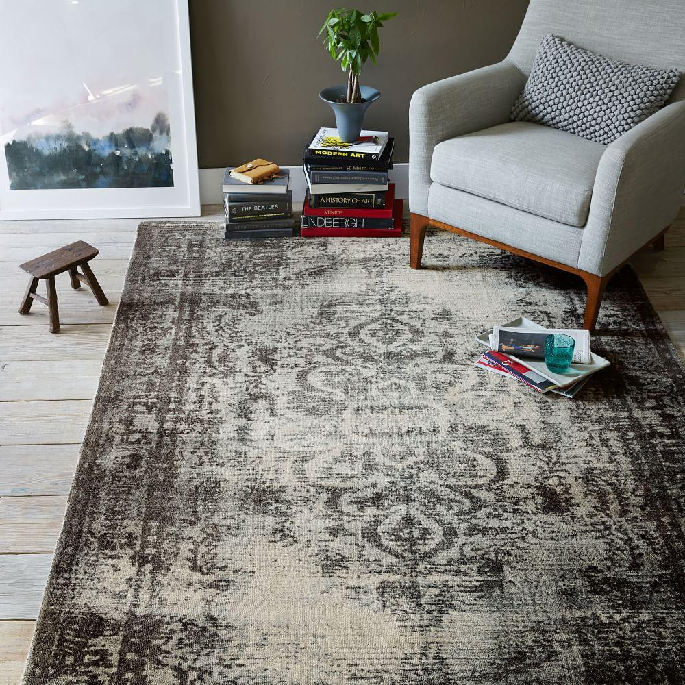 Distressed Arabesque Wool Rug Steel West Elm Australia