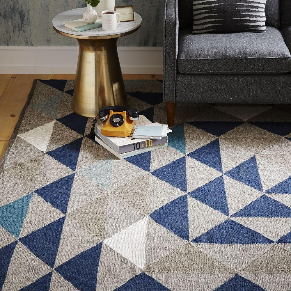 Art Kilim Wool Rug: Framed Triangles Wool Kilim Rug