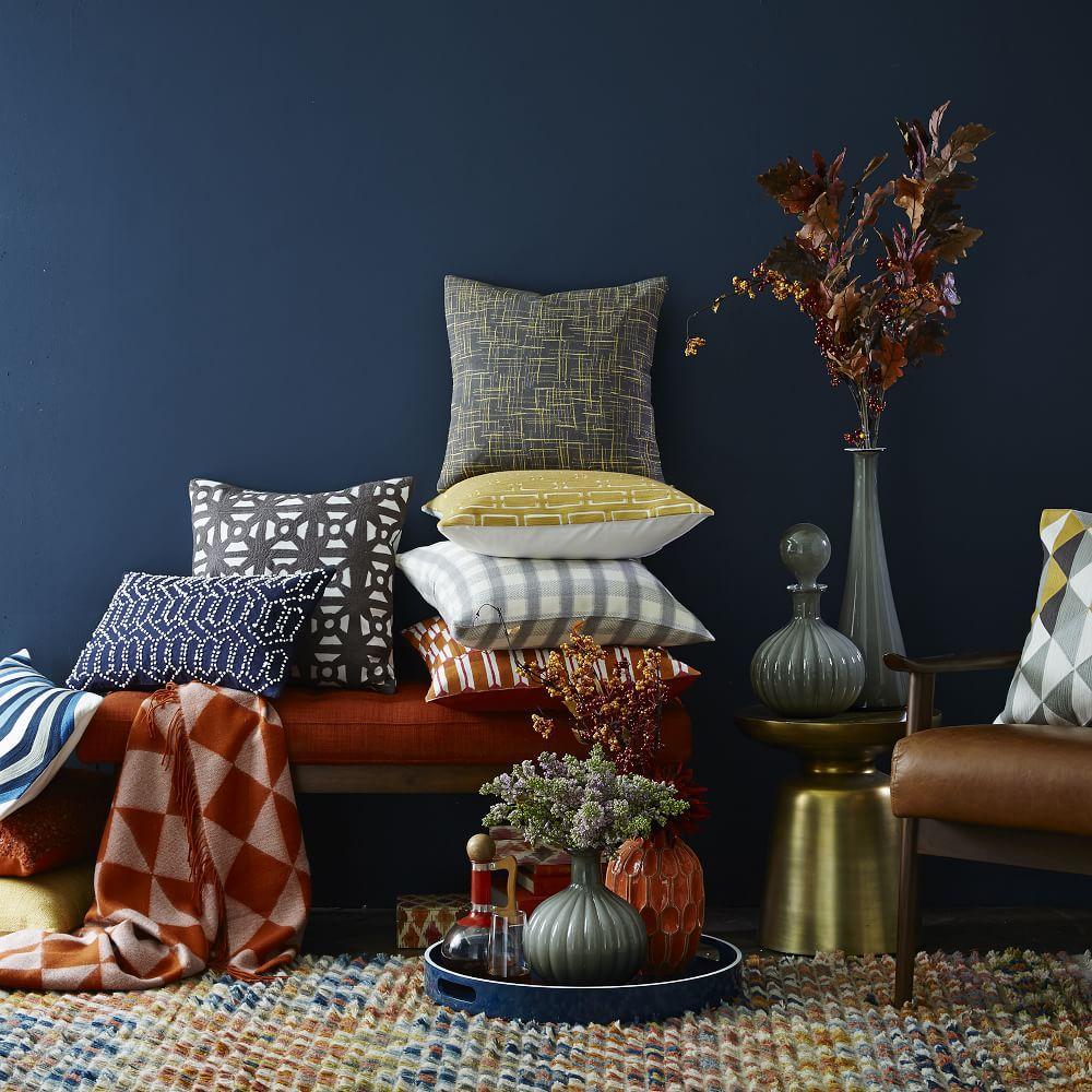 Mid Century Crewel Bracket Geo Pillow Cover - Nightshade : Modern Furniture, Home Decor & Home Accessories west elm