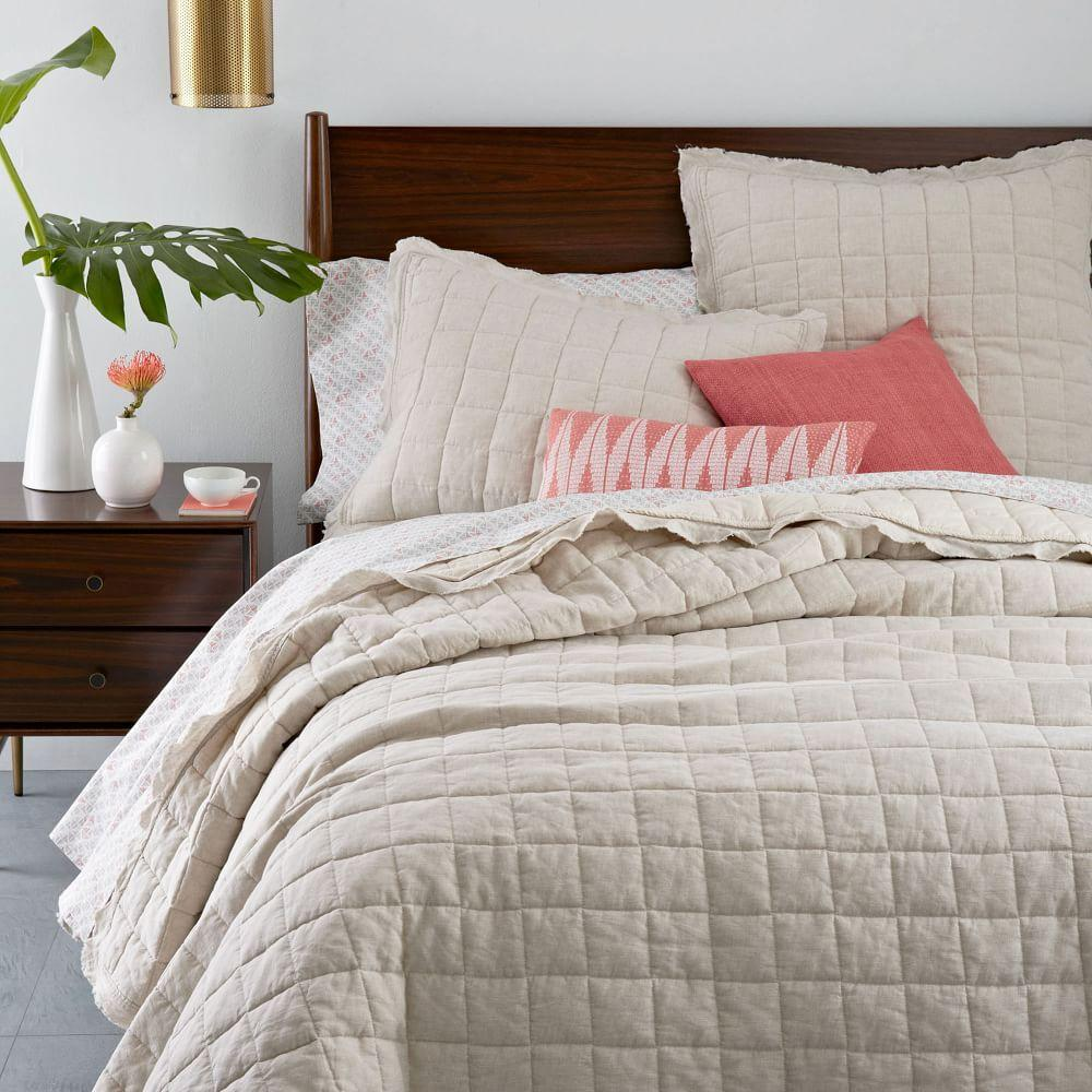 Belgian Flax Linen Quilted Coverlet + Pillowcases - Natural Flax