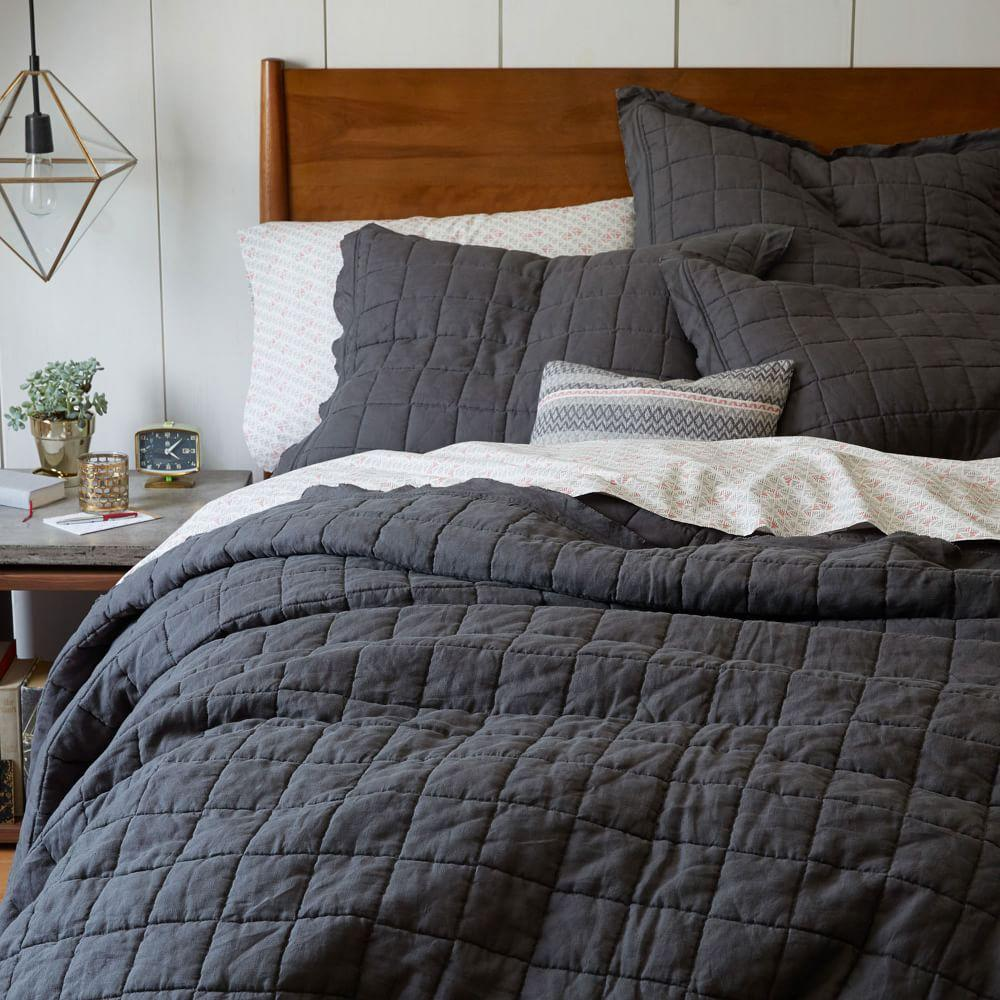 Belgian Flax Linen Quilted Coverlet + Pillowcases - Slate