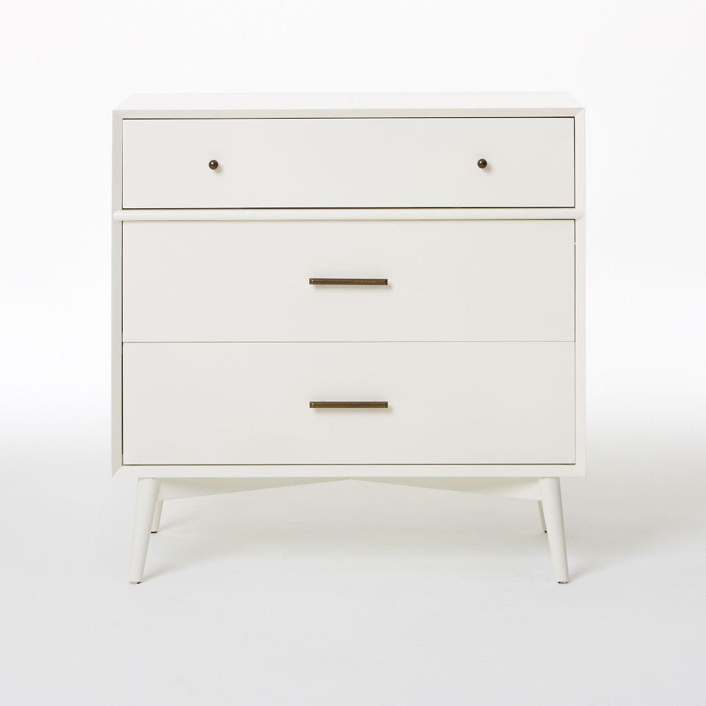 mid century 3 drawer dresser white. Black Bedroom Furniture Sets. Home Design Ideas