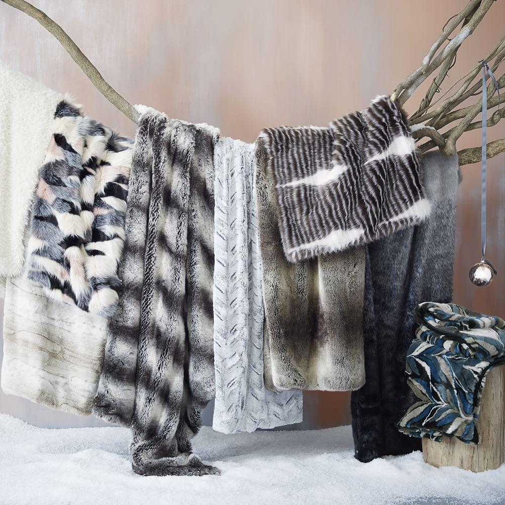 Faux Fur Chevron Throw