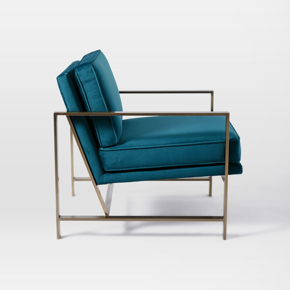 Metal Frame Upholstered Chair - Celestial Blue
