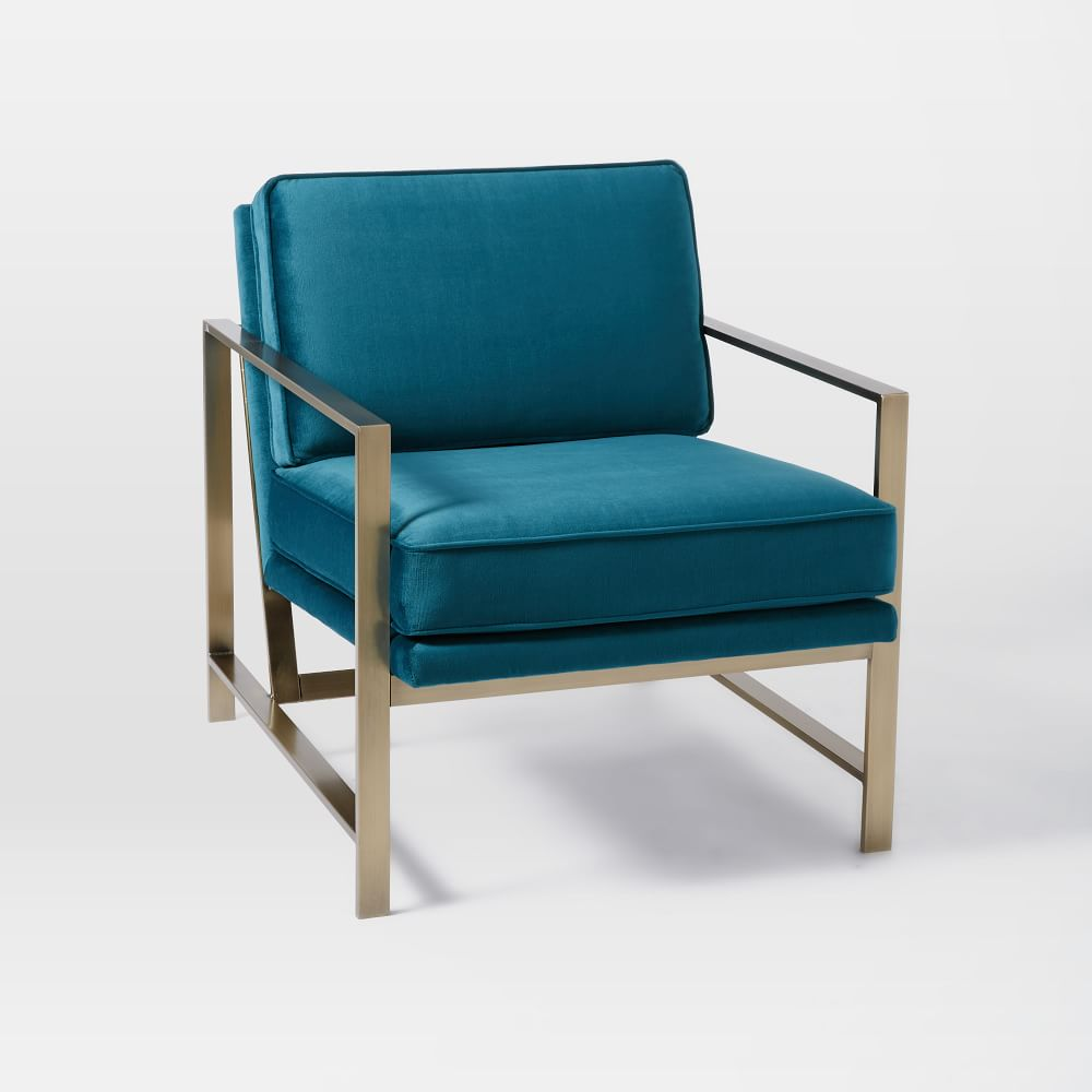 Metal Frame Upholstered Chair - Celestial Blue | west elm Australia