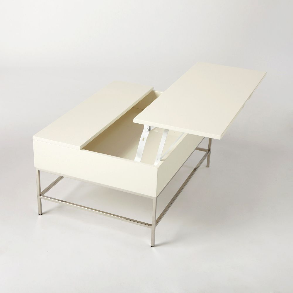 Storage Coffee Table White Lacquer