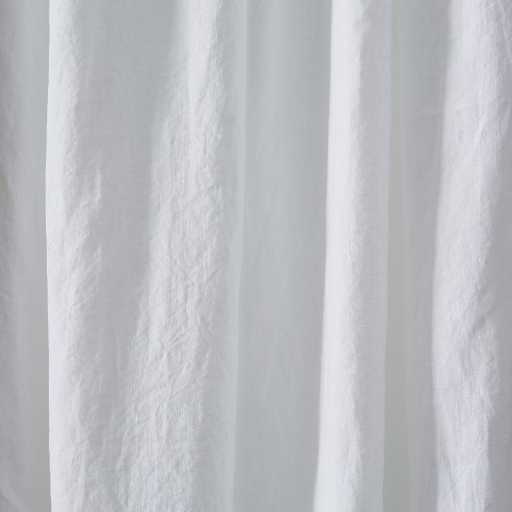 Belgian Flax Linen Curtain Blackout Lining White
