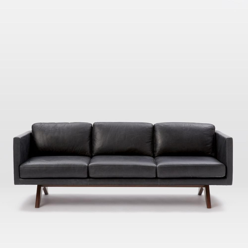 Brooklyn Leather Sofa Liquorice 206 Cm West Elm Au