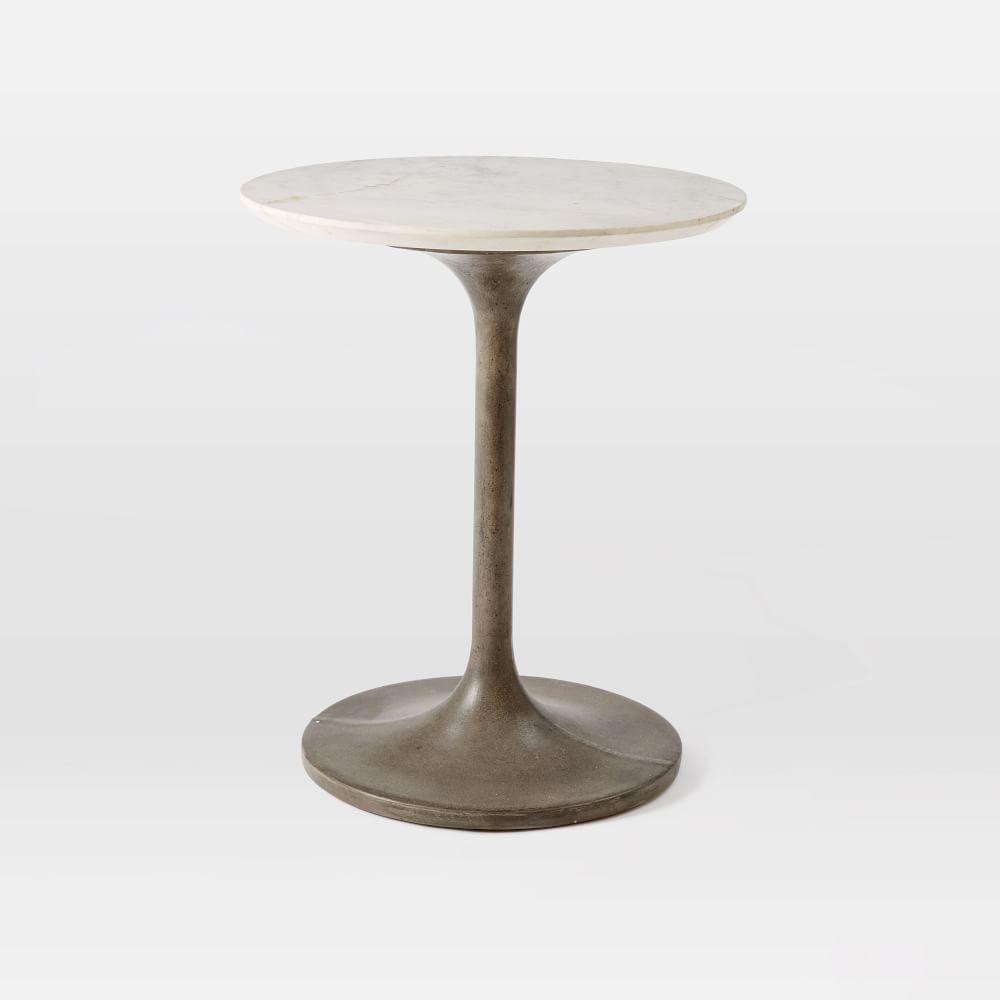 Marble concrete pedestal side table west elm au for Pedestal side table
