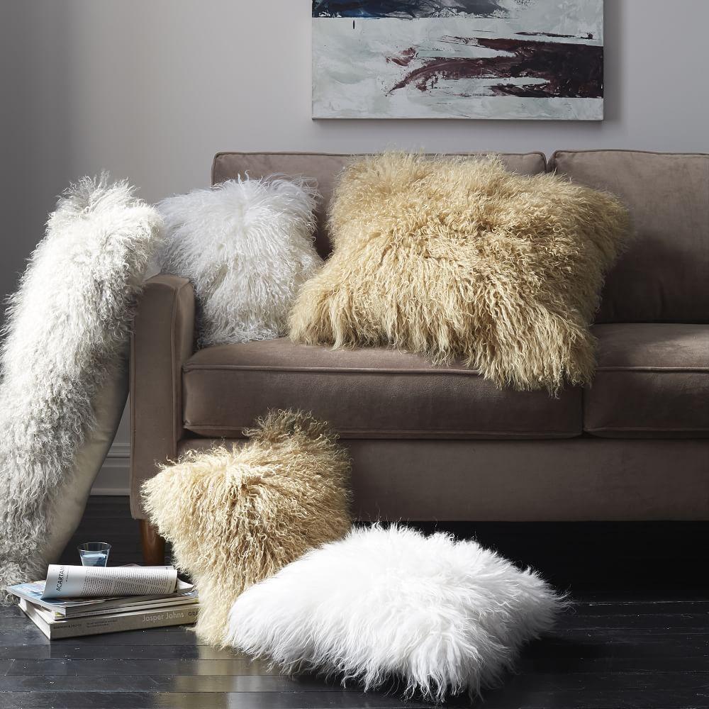 Mongolian Lamb Cushion Cover Stone White 61 Cm Sq