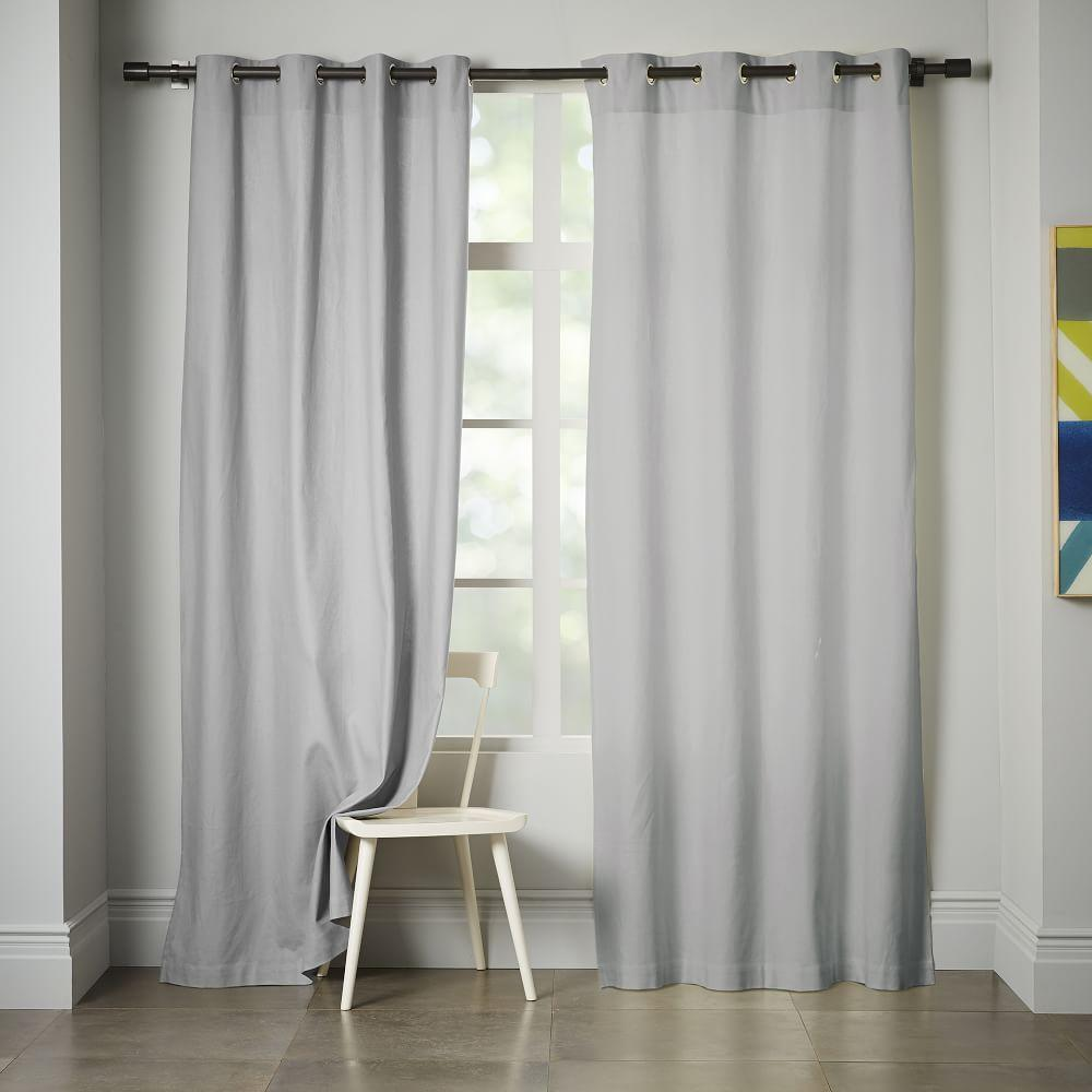 Linen Cotton Grommet Curtain Platinum West Elm Au