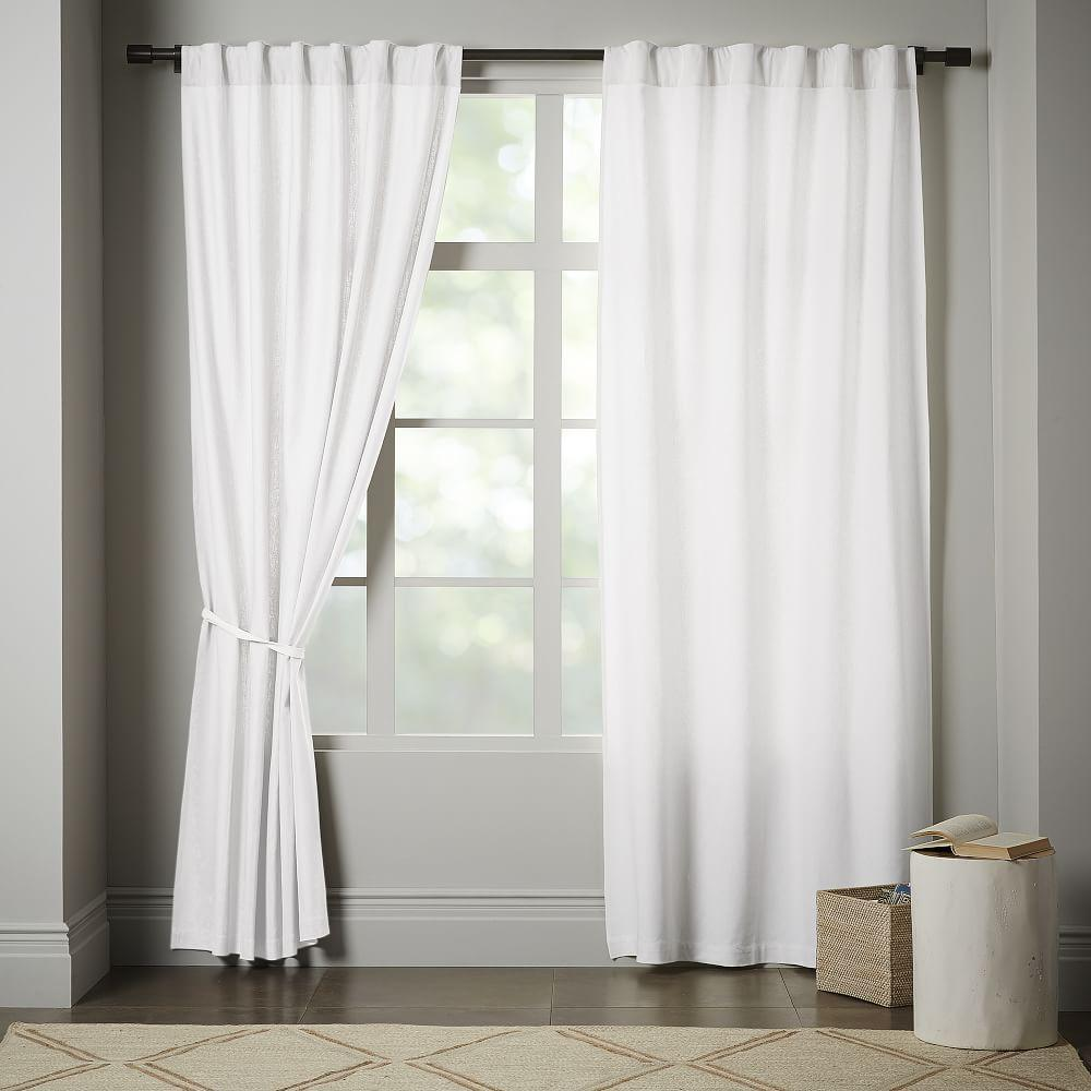Linen Cotton Curtain Blackout Lining White West Elm