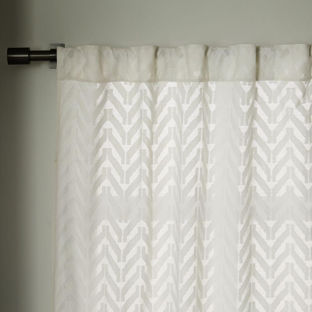 Sheer Chevron Curtain White West Elm Australia