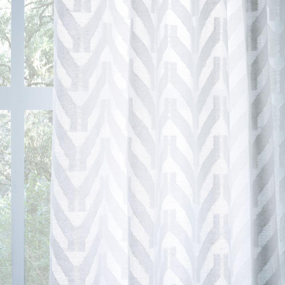 Semi-Sheer Chevron Curtain - White