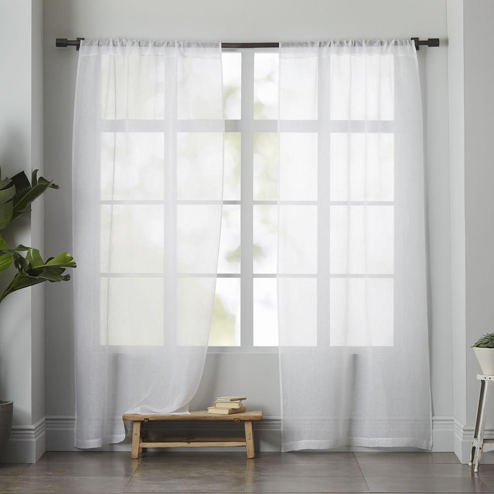 Sheer linen curtain white west elm au for West elm window treatments