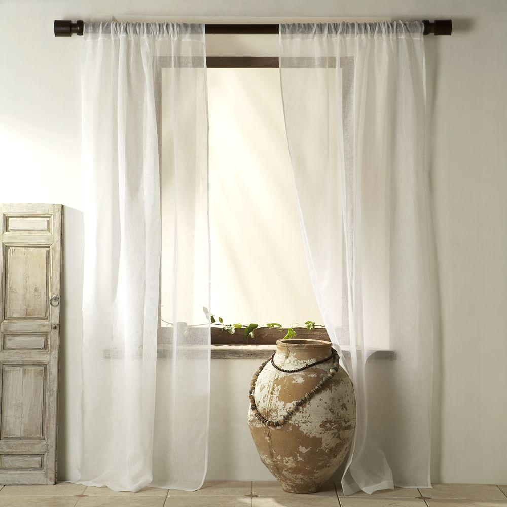 Sheer Linen Curtain White West Elm Au