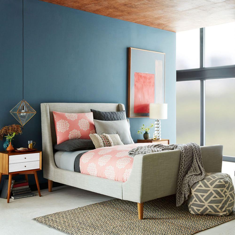 Upholstered sleigh bed west elm au for Bedroom inspiration west elm