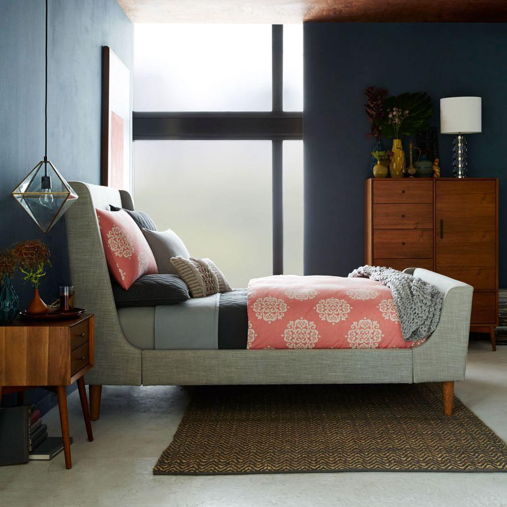 Upholstered Sleigh Bed West Elm Au: upholstered sleigh bed