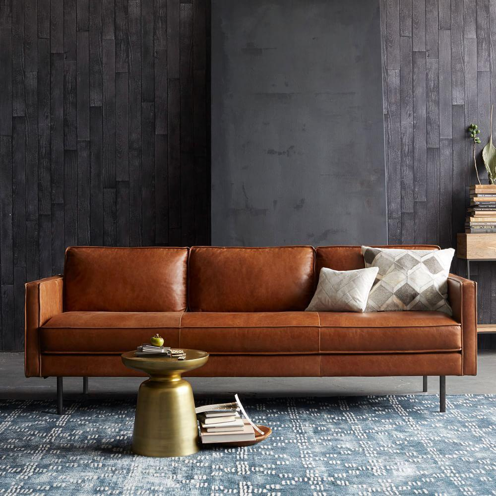 Axel leather sofa 226 cm saddle