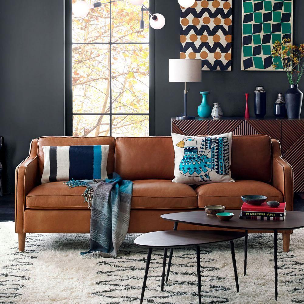 West Elm Living Room Hamilton Leather Sofa Sienna 206 Cm West Elm Au
