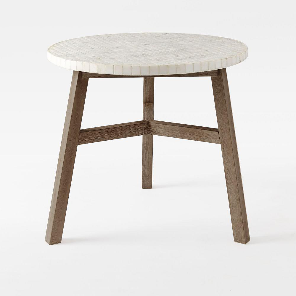 Mosaic bistro dining table white marble - White marble dining tables ...