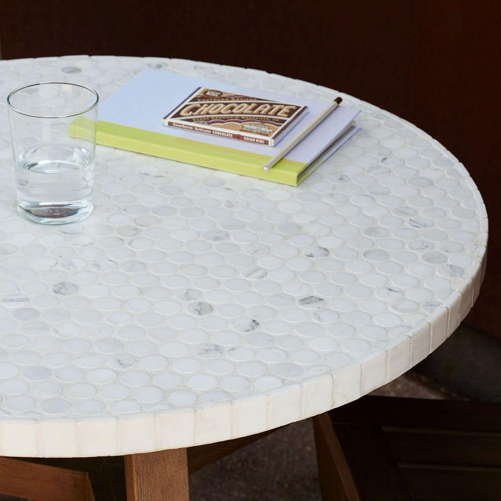 Mosaic Bistro Dining Table White Marble