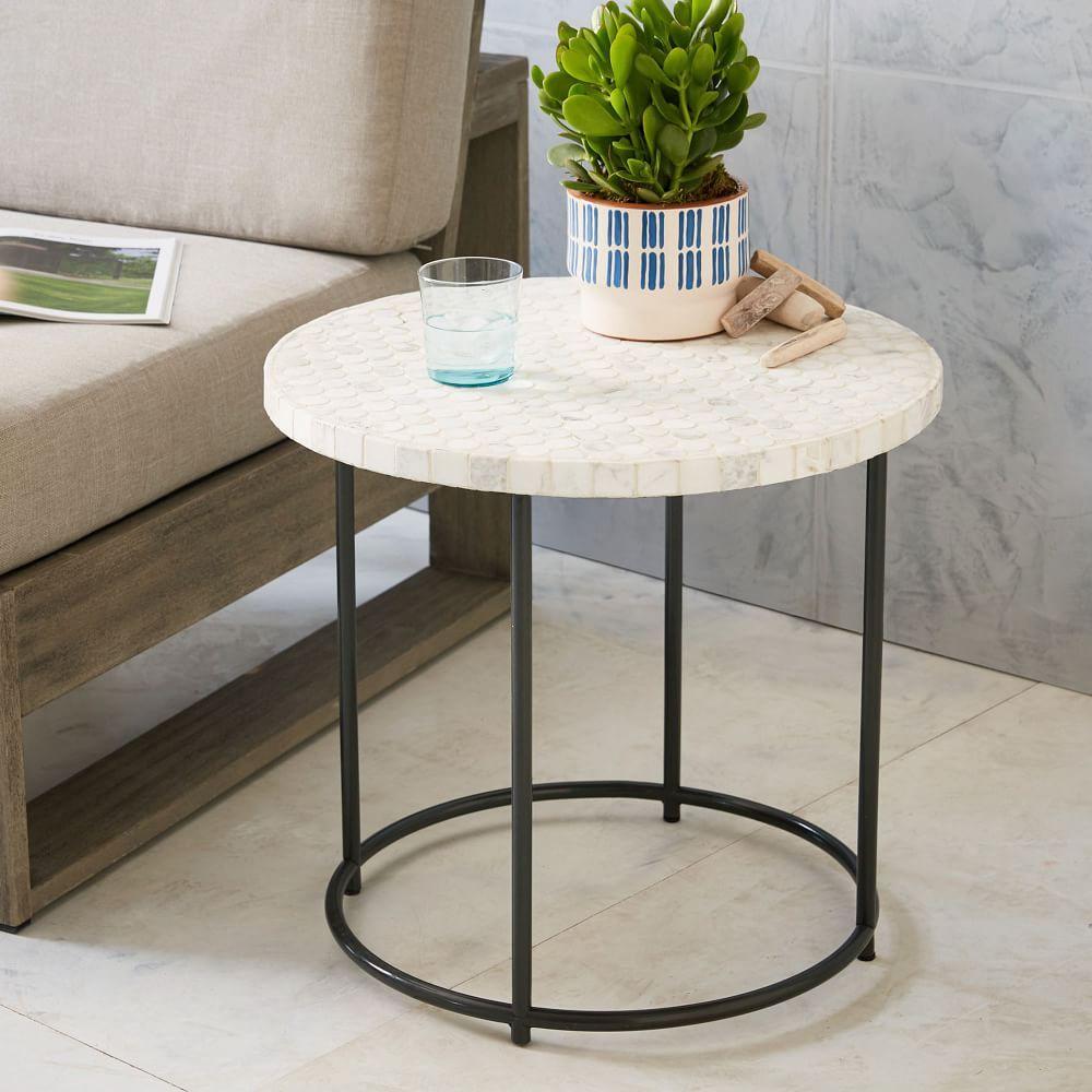 mosaic side table white marble west elm au. Black Bedroom Furniture Sets. Home Design Ideas