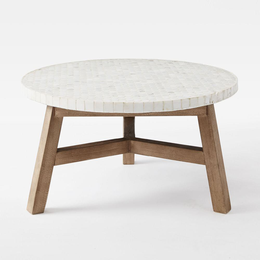 White Driftwood Coffee Table: Mosaic Coffee Table - White Marble (Driftwood Base)