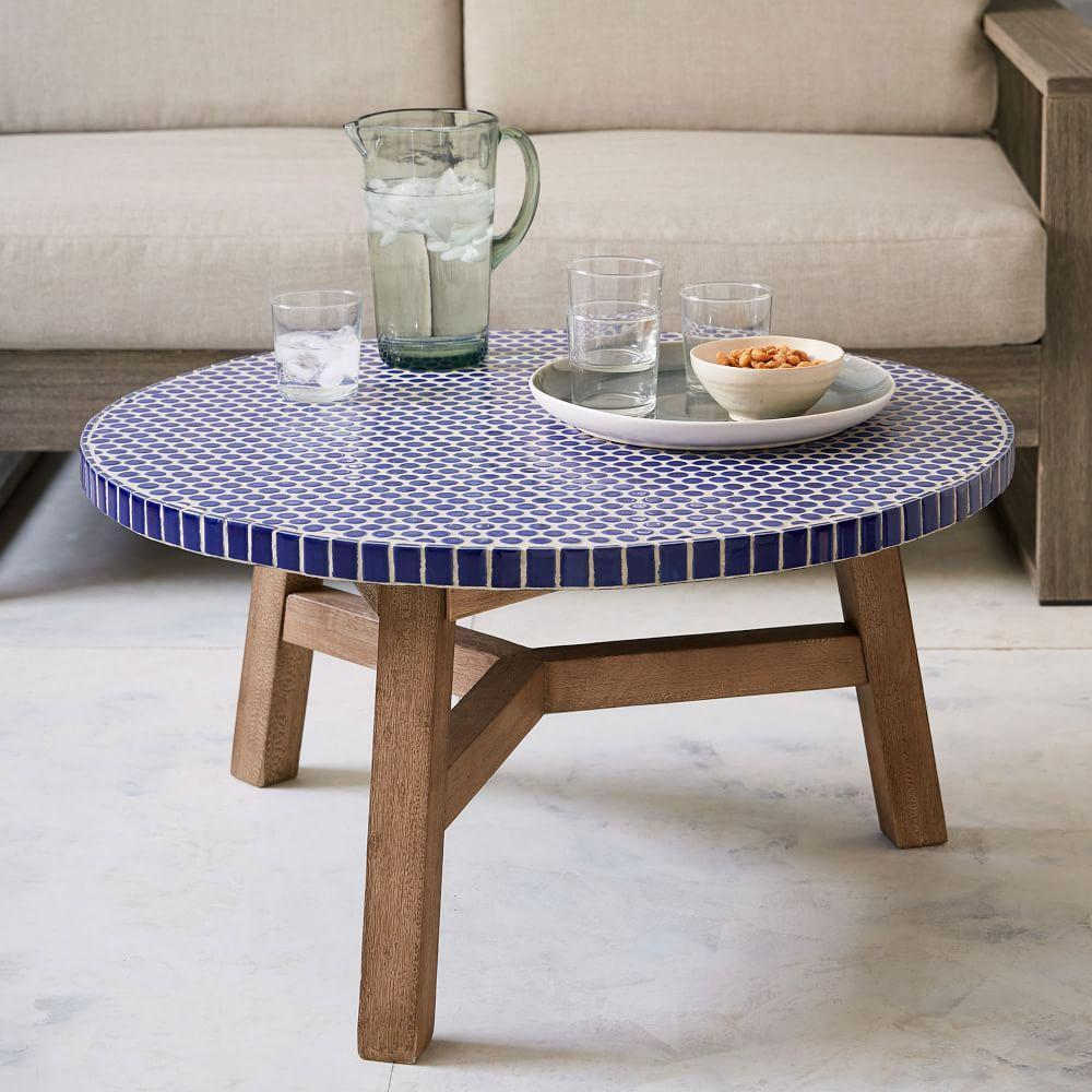 Mosaic Coffee Table Blue Penny Driftwood Base West