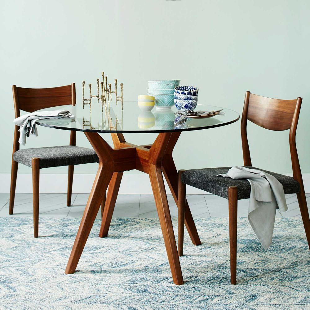 Jensen round glass dining table west elm au for Small round wood kitchen table
