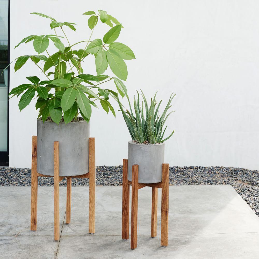 modern wood leg planter  cylinder  west elm au - modern wood leg planter  cylinder