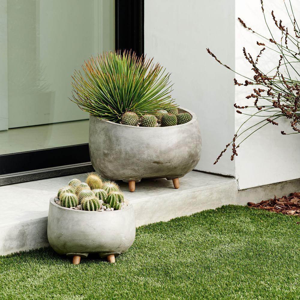 Modern Wood Leg Planter Round West Elm Au