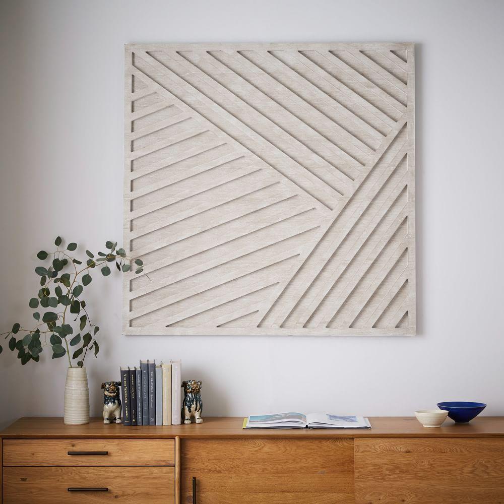 Whitewashed Wood Wall Art Overlapping Lines West Elm Au