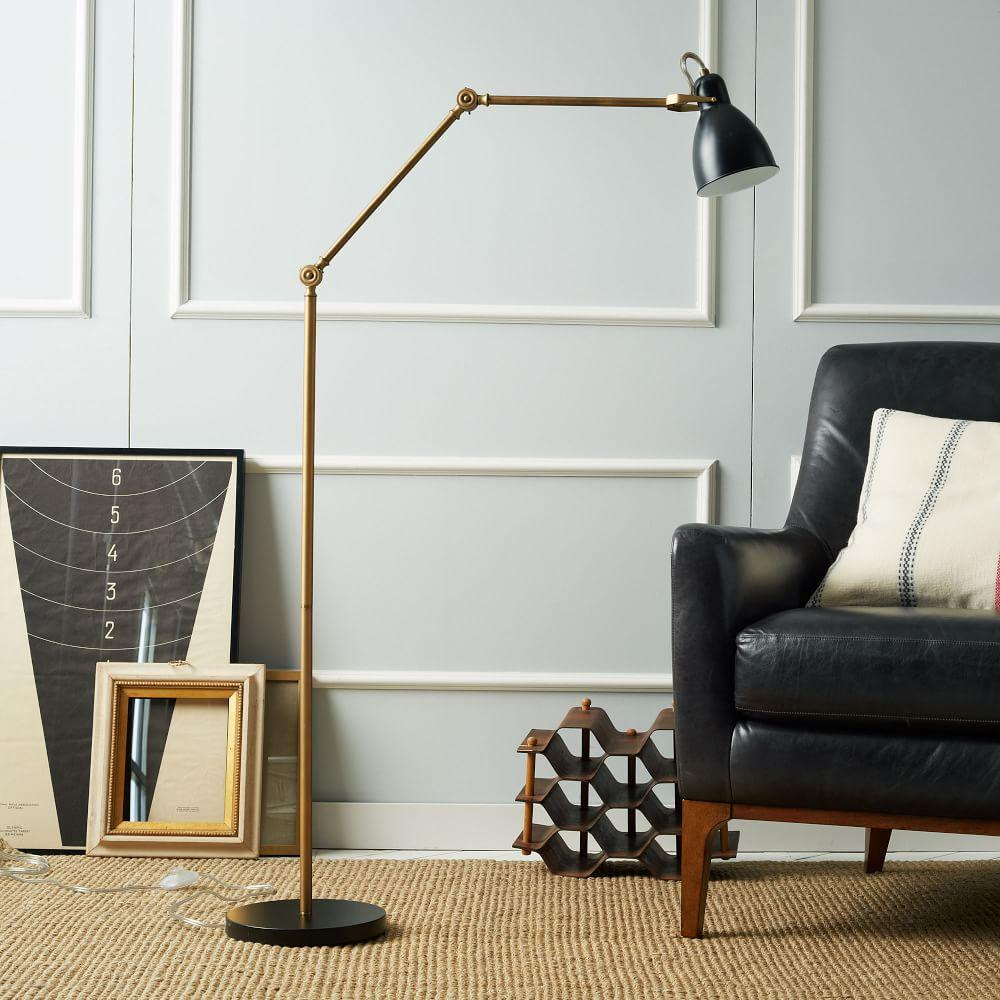 Industrial task floor lamp black brass west elm australia industrial task floor lamp black brass mozeypictures Image collections