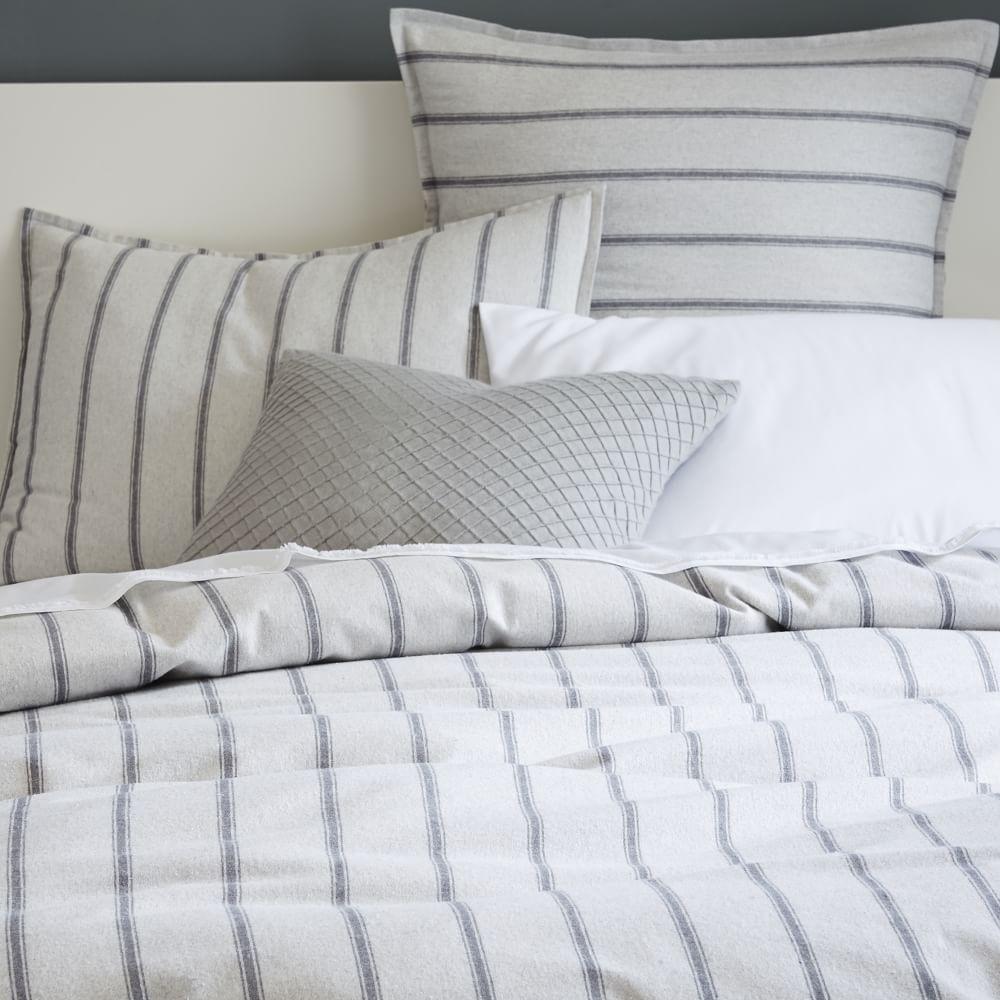 ... Flannelette Stripe Quilt Cover + Pillowcases ...