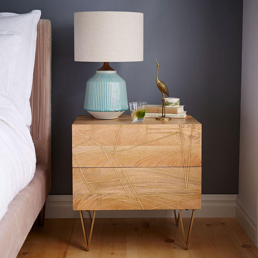 ... Roar + Rabbit Brass Geo Inlay Bedside Table ...