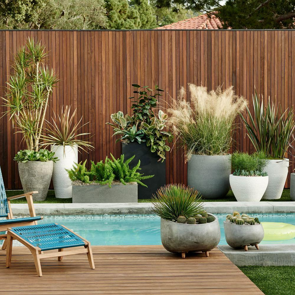 Modern wood leg planter round west elm au Modern plant pots