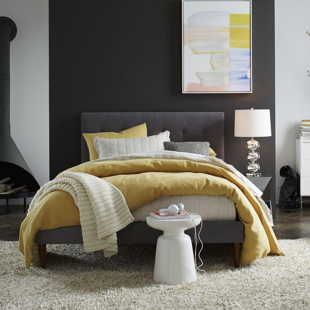 Grid Tufted Upholstered Tapered Leg Bed Steel Grey