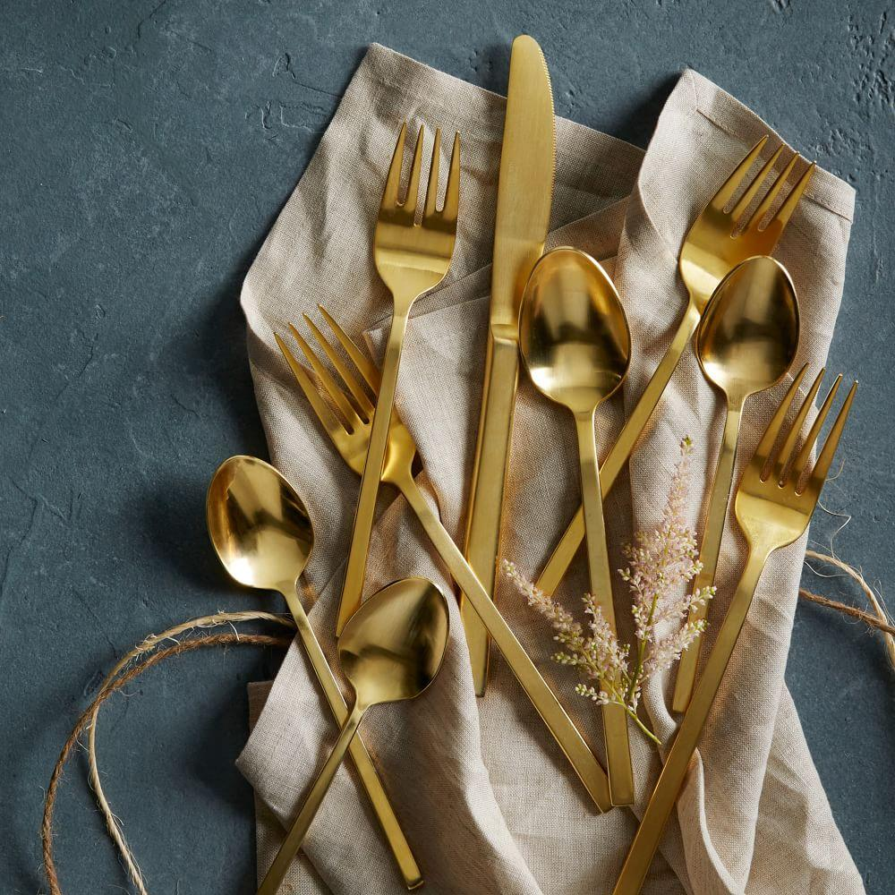 Gold cutlery 5 pc place setting west elm au for West elm table setting