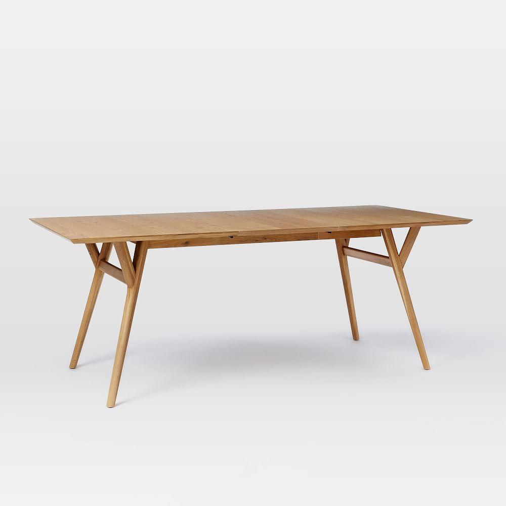 mid century expandable dining table oak west elm au. Black Bedroom Furniture Sets. Home Design Ideas