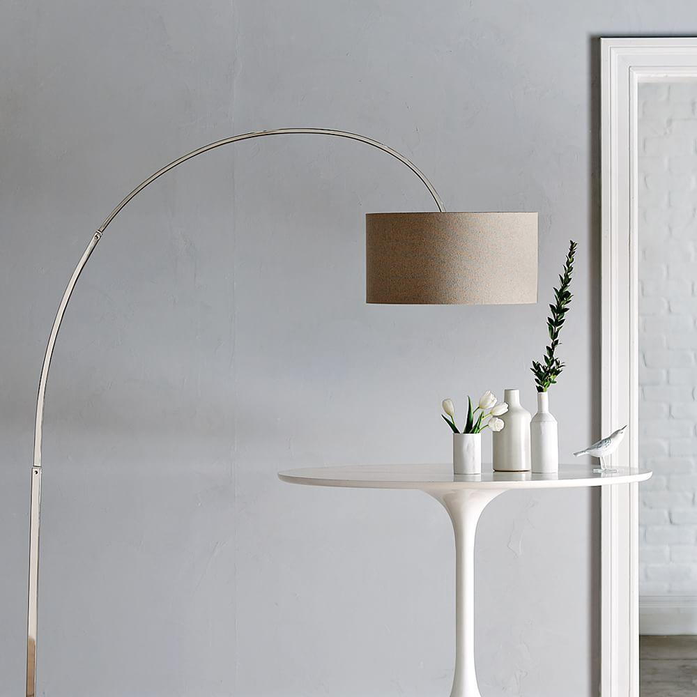 Overarching Floor Lamp - Polished Nickel/Natural