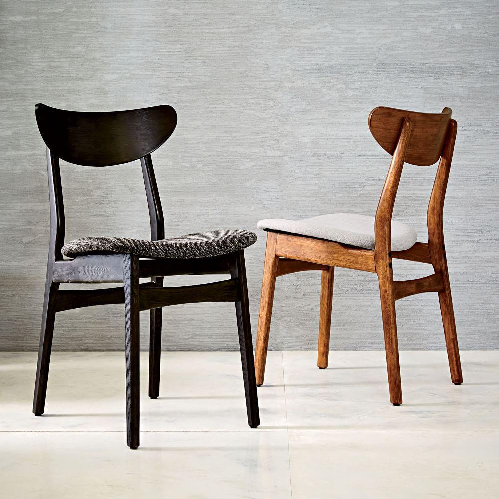 Classic café upholstered dining chair walnut west elm australia