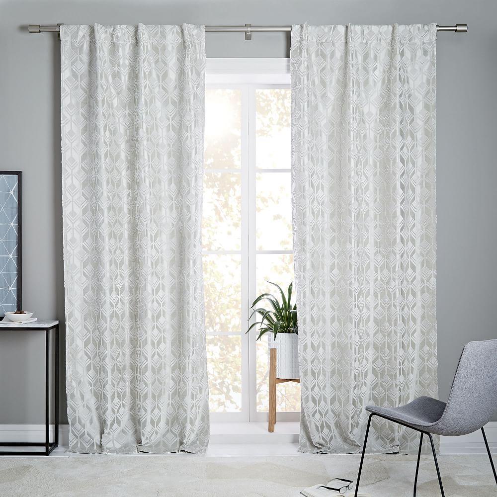 geo tile velvet flocked curtain blackout lining frost. Black Bedroom Furniture Sets. Home Design Ideas